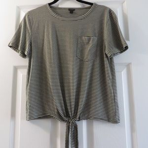 J Crew green and white striped tie tee